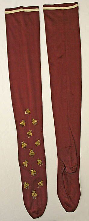 Silk stockings with bead embroidered bees 1890s #victorian