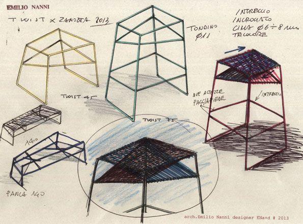 TWIST stools by Emilio Nanni (2014) for Zanotta.