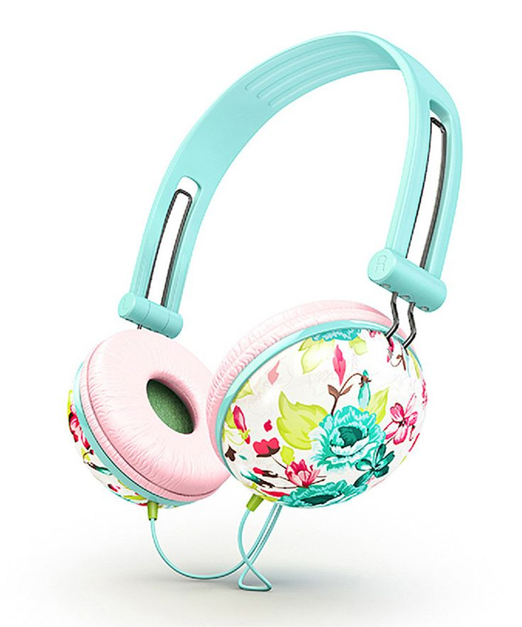 Another great find on #zulily! Teal Floral Fat Bass Headphones by Ankit #zulilyfinds