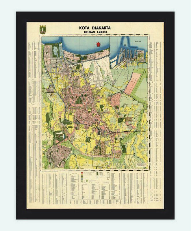 Old Map of Jakarta Batavia Indonesia