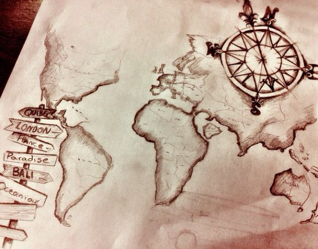 Such a cool tattoo idea. World map and a compass :)