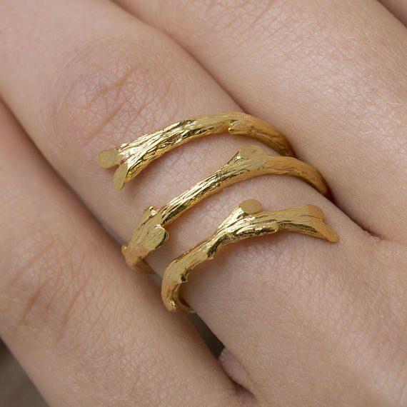 Κλαδί αμπέλου δαχτυλίδι, Βοτανικός κοσμήματα, 925, Nature Ring, Open Ring, Βοτανικός κοσμήματα, 18K Επίχρυσο