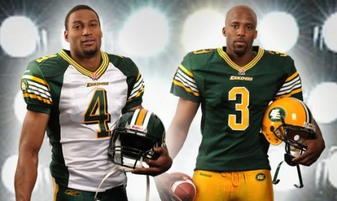 The new look for the Edmonton Eskimos this year.  I really like the green and white jersey.