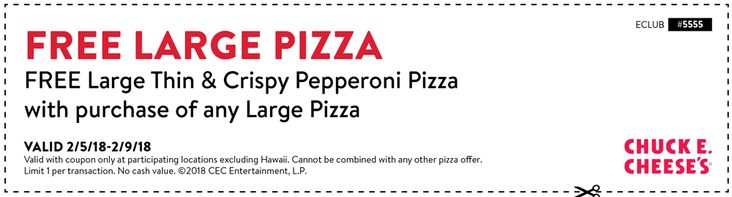 Pinned February 6th: Second pizza #FREE at #ChuckECheese #TheCouponsApp