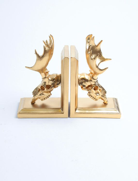 Moose Skull Bookends in Gold  Resin Moose by WhiteFauxTaxidermy