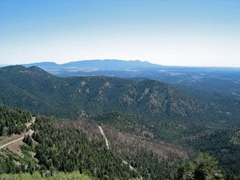 Need Camping Road Trip ideas? Why not Southern New Mexico? Here's a scenic view from Windy Point Vista Lookout on Sierra Blanca Peak...