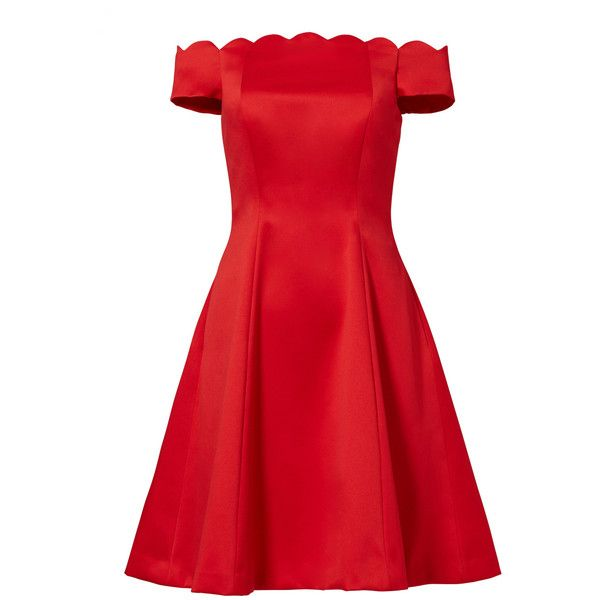 Badgley Mischka Red Scallop Off Shoulder Dress ($495) ❤ liked on Polyvore featuring dresses, badgley mischka, scalloped dress, off shoulder dress, scallop trim dress and red dress
