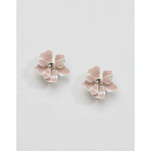 Pilgrim Floral Stud Earrings (285 UYU) ❤ liked on Polyvore featuring jewelry, earrings, pink, pink earrings, pilgrim jewellery, pilgrim jewelry, bullet jewelry and bullet earrings