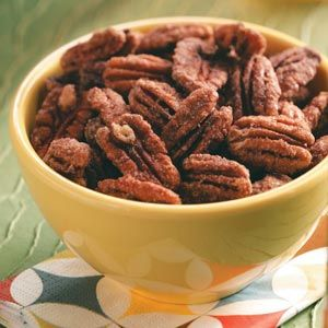 Five-Spice Pecans Recipe from Taste of Home -- Just try to stop eating these toasty, roasty snack nuts. Shared by Anne Leslie of Chandler, IN