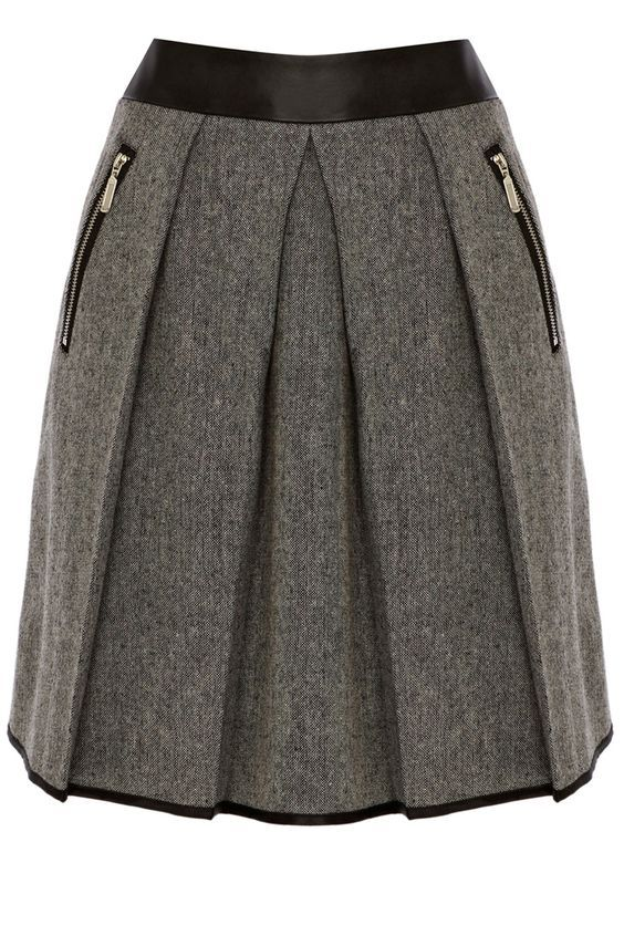 Clothing | Black CONTRAST WAISTBAND TWEED SKIRT | Warehouse: