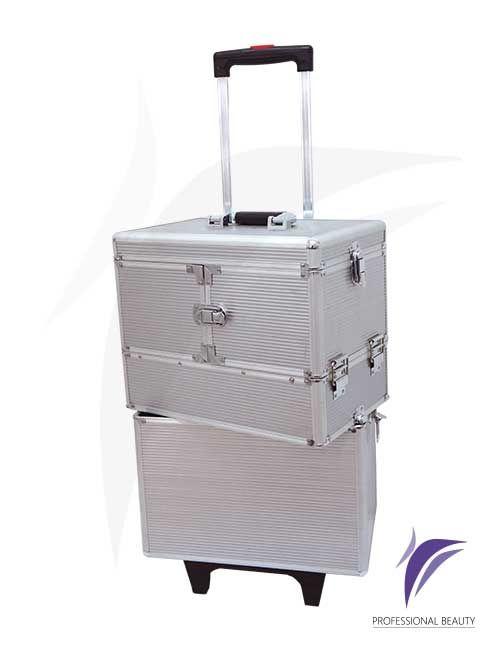 Organizador en Aluminio: Organizador de dos compartimentos con estructura en aluminio de color plateado y tapizado interno. Ideal para el transporte de todo tipo de elementos gracias a su sistema de rodachines y bisagras con cierres laterales.