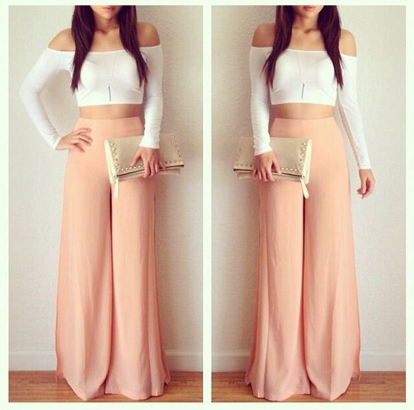 crop top and high waisted pants #style