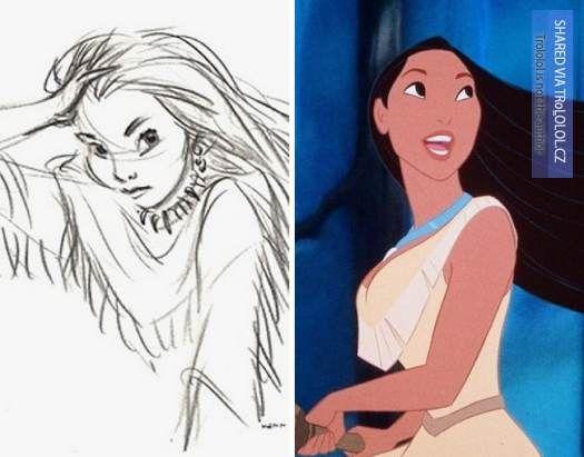Původní kreslené návrhy Disney postaviček-Pocahontas