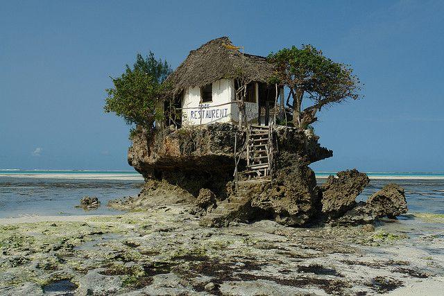 The Rock Restaurant, Indian Ocean, off the coast of Zanzibar, Tanzania...: Indian Ocean, Beaches, Cups, The Rocks, Rocks Restaurant, Dinners, Boats, Islands, Trees House