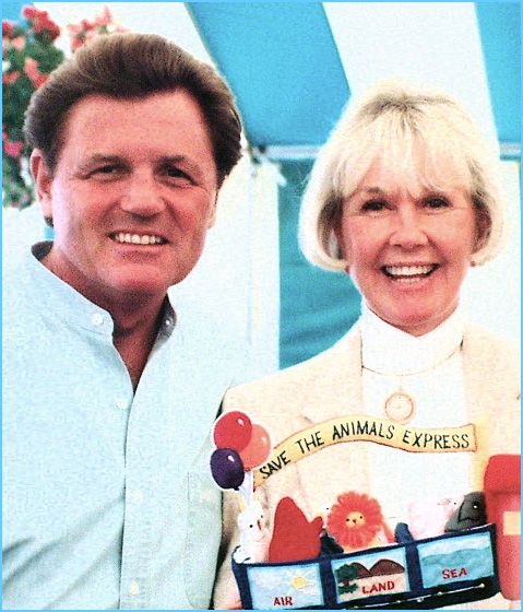 4/16/14  11:06a  Doris Day with Beach Boy Bruce Johnston at a Doris Day Animal Foundation, fund raiser in 1996. Bruce was a long time friend of Doris' son, Terry Melcher. They formed a duo Bruce & Terry in the early 60s and produced a number of records/groups together. Doris recorded Bruce's song 'Disney Girls' that the Beach Boys also recorded.