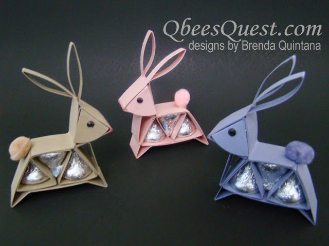 Hershey's Bunny Tutorial | Hershey's Kisses, Simply Scored, Easter, Bunny, Bunnies, Rabbit, Stampin' Up, Brenda Quintana, Qbees Quest