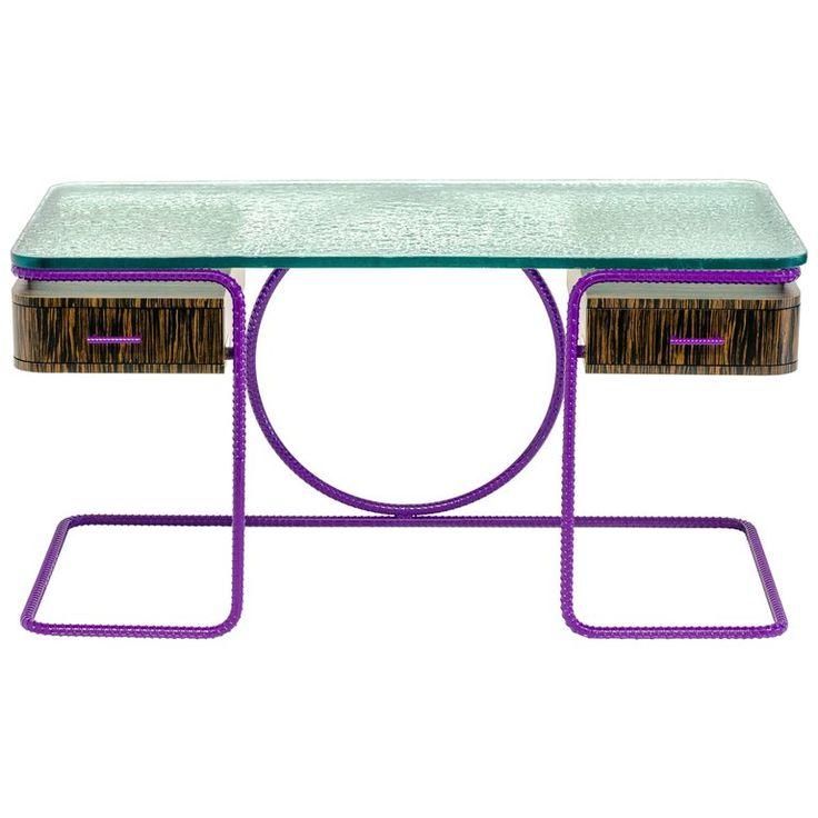 21st Century Contemporary Steel Frame Macassar Ebony Glass Custom Handmade Desk 1
