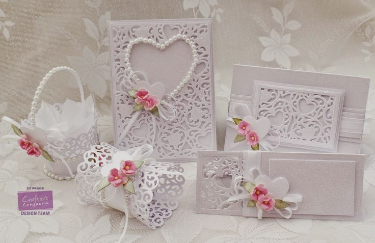 Wedding set created using Crafter's Companion A6 Adore Create a Card die, Hearts, Rectangles, Cupcake Lace Hearts dies, Centura Pearl Card and Collall All Purpose Glue. Made by Liz Walker