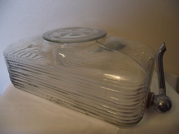 pictures of rare depression era glass   Vintage Rare Complete Depression Era Clear Glass Water Dispenser