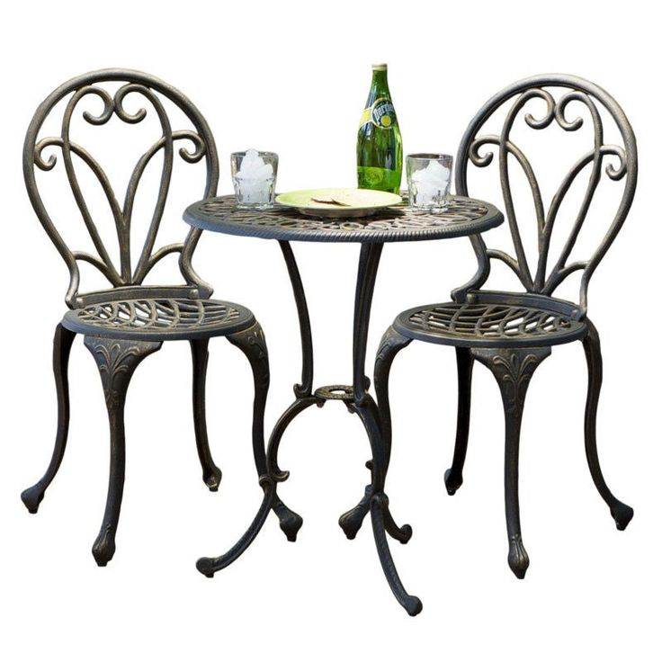 New Cast Iron Bistro Patio Set Outdoor Table Chairs