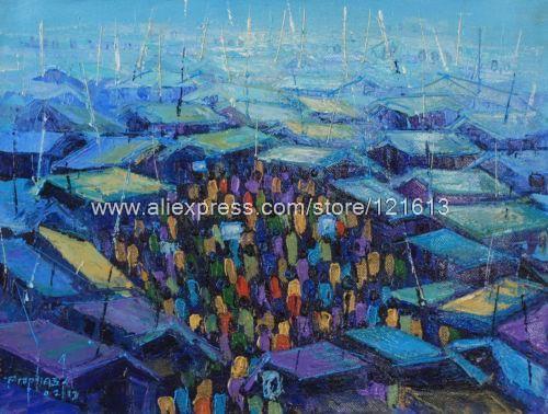 Pintura expresionista africana bellas amanecer hechos a mano mercado Ghana pinturas al óleo lienzo arte Pc pared de la pintura del arte de la sala W(China (Mainland))