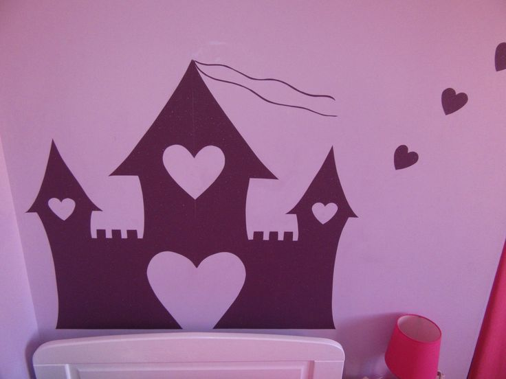 Tête de lit violette pailletée Château de princesse en papier peint enfant : Décoration pour enfants par lulli-deco