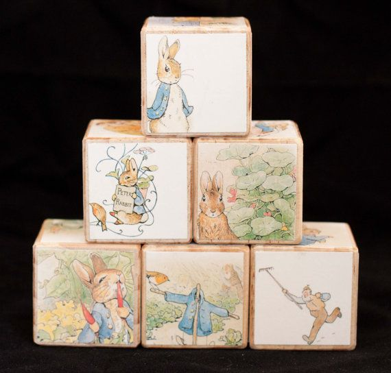 Wooden Blocks Peter Rabbit//Nursery decor//Boy girl baby shower gift//Toddler baby birthday toy