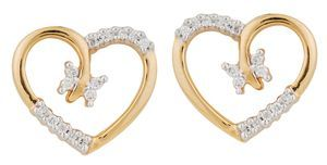 Nice symbol of love -  Heart shape diamond earring. Diamonds are set in proper place that gives good look to earring. As diamonds are set in opposite side it gives feel of diamonds are used more then what they are. Even adding 4 diamonds in center completes the whole design & completes Butterfly look......