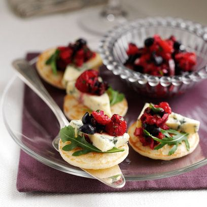canape - blueberry and stilton blinis