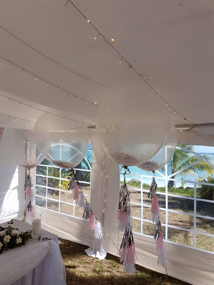 "36"" balloons filled with confetti and tied with tassels made a spectacle when we put them outside the marquee"