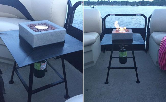 Diy Ideas For Fire Pits On A Pontoon Boat Be Careful Though As Fires And Boats Don T Always Mix Too Well Fire Pit Table Fire Pit Gas Fire Pits Outdoor