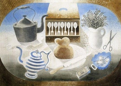 Finished design for an embroidery for Dunbar Hay by Eric Ravilious
