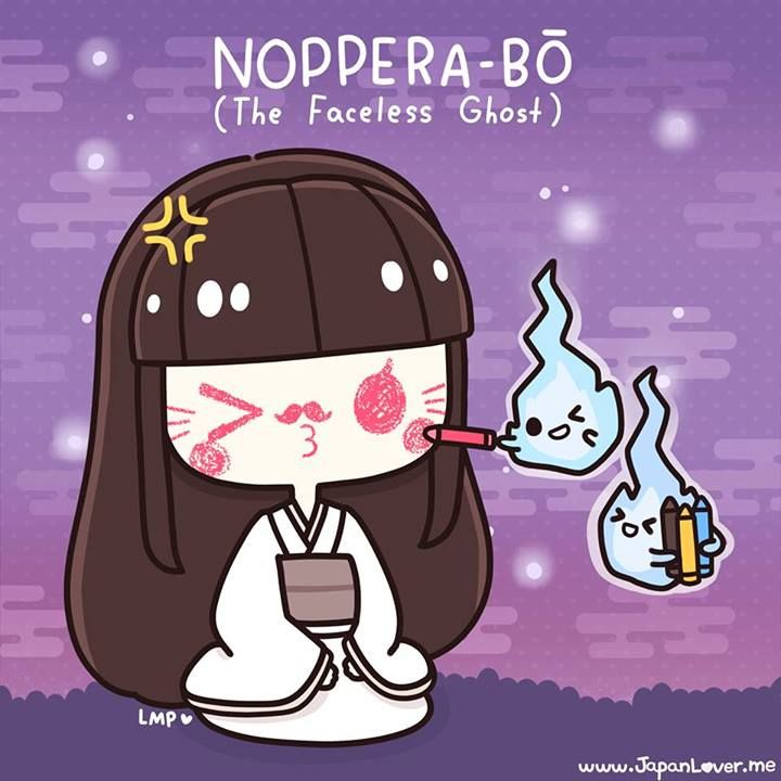 """Noppera-bo, or the """"faceless ghost"""", is a legendary creature from Japanese folklore that has inspired numerous stories. They are known to frighten humans by imitating another person's face before revealing their own blank face, but they are otherwise harmless. (︶ω︶) Sharing the Worldwide JapanLove ♥ www.japanlover.me ♥ www.instagram.com/JapanLoverMe Art by Little Miss Paintbrush ♥"""