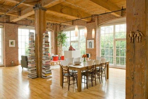 Brick interior walls and wood beams, swoon.