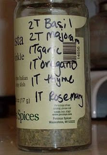Make your own Italian spice blend. I wrote the recipe on the jar so I have it handy when I run out.