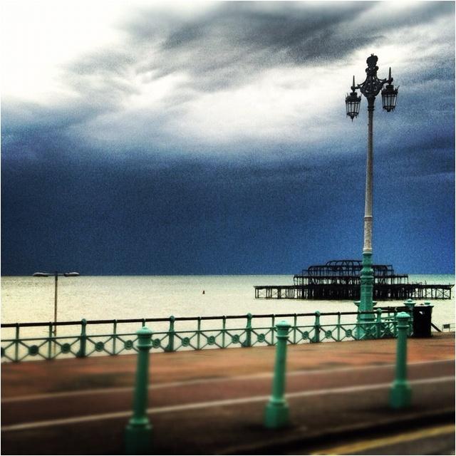 West pier Hove UK moody sky 2012