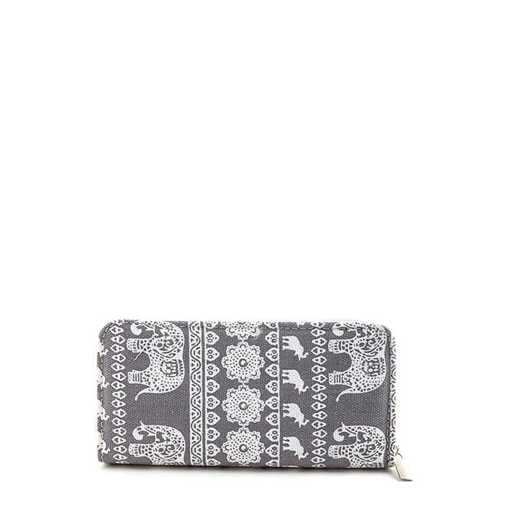 """Amazing tribal elephant motif canvas wallet with a zip closure and multiple pockets. Available in 4 colors. Approx. 8"""" length x 4"""" width x 1"""" Deep Multi compartment Zipper closure"""
