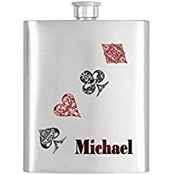 Personalized Poker Playing Cards Whiskey Flask Hearts Las Vegas Gambling Bachelor Party Stainless Steel 8 oz Liquor Hip Flasks - Flask #83