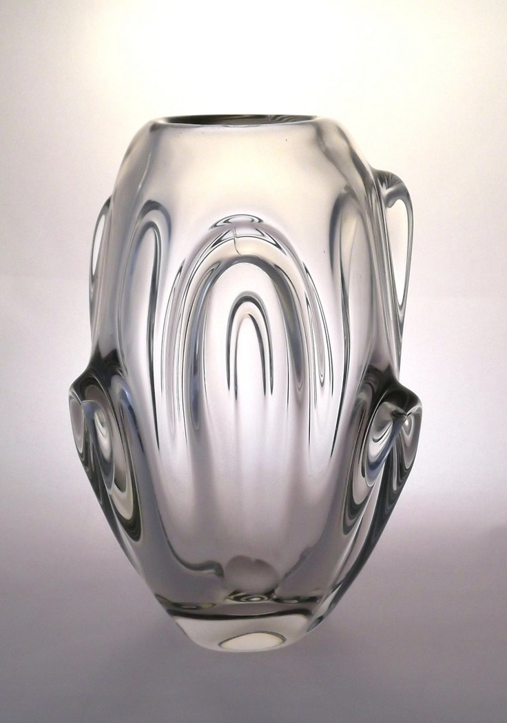ON SALE Jan Broz Skrdlovice 5344 clear lobed vase -- Czech art glass.