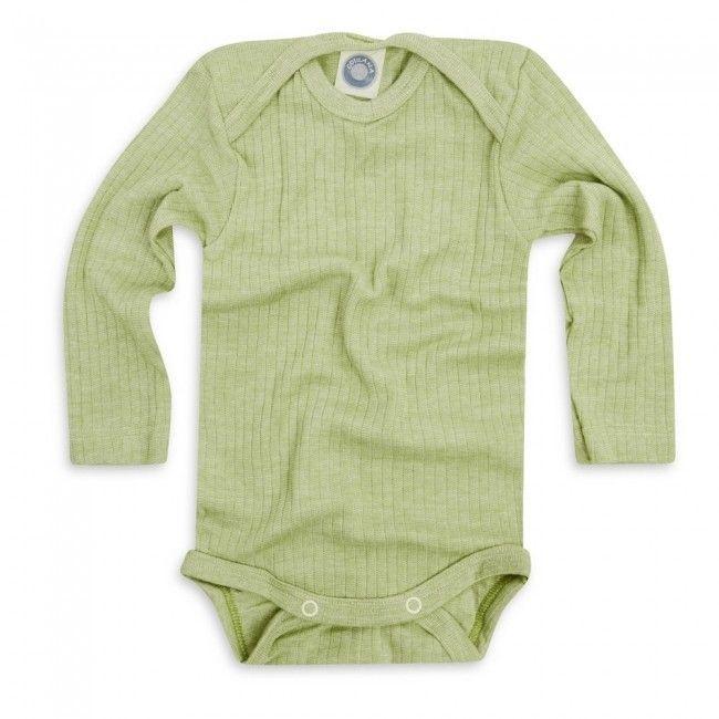 Body, ull/silke/bomull, grønn