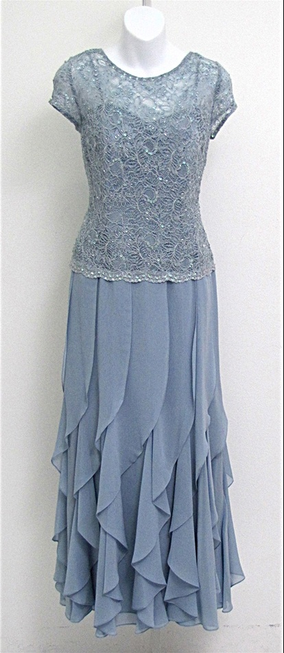 Mother of the Groom dress? KM Collections 50690 Lace and Bead Bodice Circular Flounce Dress
