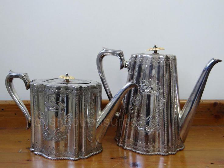 Pair Antique Thomas Otley and Sons Tea Pot and Coffee Pot BM Sheffield | eBay