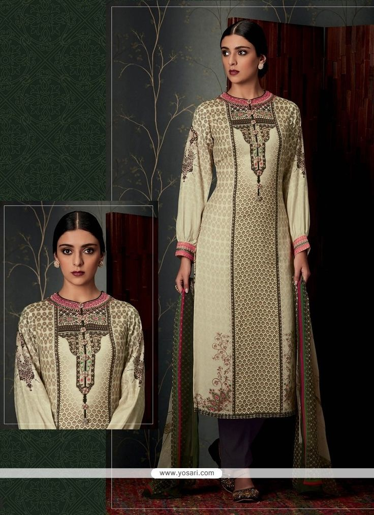 Opulent Print Work Pashmina Cream Designer Straight Salwar Suit Model: YOS7965