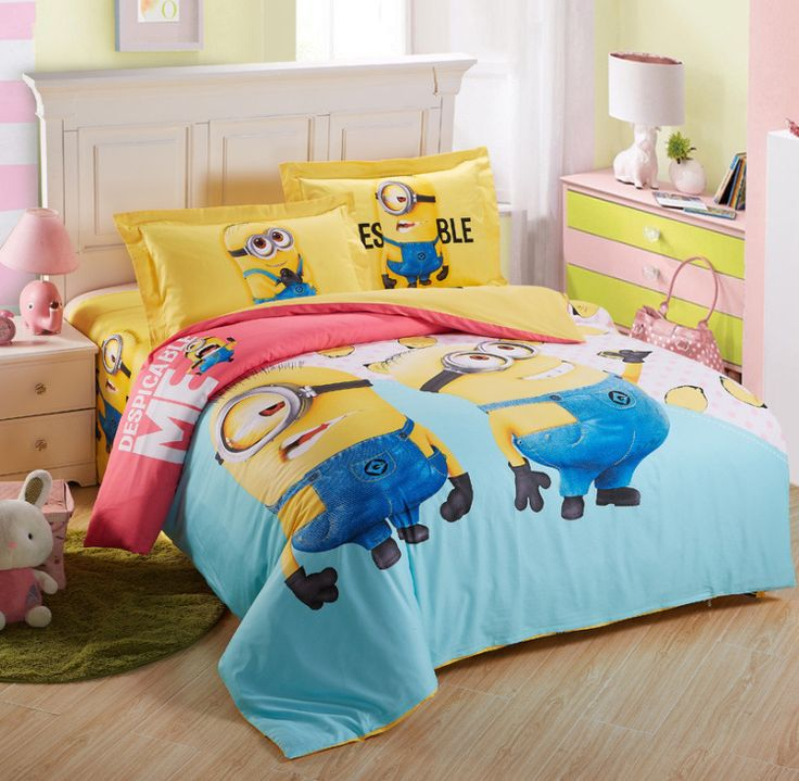 Twin Full Green Red And Yellow Minions Stuart Despicable Me Minions Girls Bed Sets
