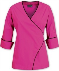 Women's Wrap Chef Coat - Contrast Piping - 100% Cotton