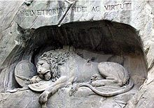 The heroic but futile stand of the Swiss is commemorated by Bertel Thorvaldsen's Lion Monument in Lucerne, dedicated in 1821, which shows a dying lion collapsed upon broken symbols of the French monarchy. An inscription on the monument lists the twenty-six Swiss officers who died on 10 August and 2–3 September 1792, and records that approximately 760 Swiss Guardsmen were killed on those days.