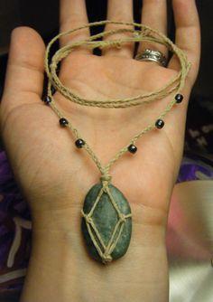 River Stone Long Necklace, Boho Stone Pendant, Stone Basket Pendant, Unisex Hemp & Stone Slipknot Necklace, Macrame Style Layering Jewelry