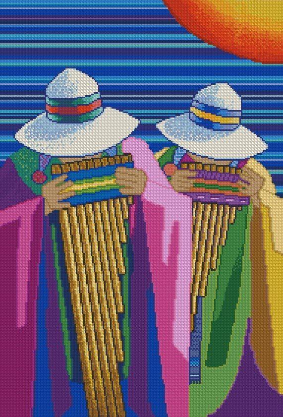 """PATRON PUNTO CRUZ  """"Musicos Andinos II""""  Para bordar con Hilos DMC  190 Puntos de Ancho  280 Puntos de Alto  - Medida aprox, del bordado, si es en tela Aida de 14: 34,5 cm ancho x 51 cm de alto http://puntocruzandino.weebly.com/"""