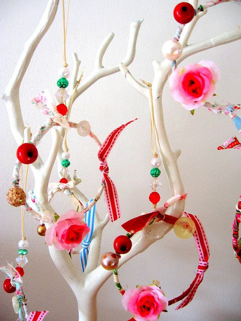 White branch with pretty ornaments