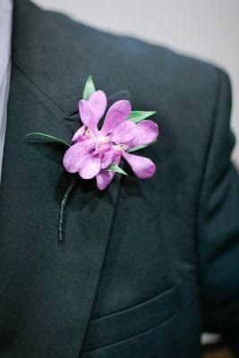 Love this boutonniere for the groom. Radiant Orchid: Pantone 2014 Color